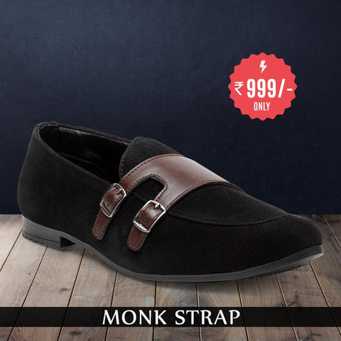 Treemoda Black Suede Monk Strap Shoes For Men