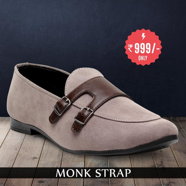Treemoda Grey Suede Monk Strap Shoes For Men