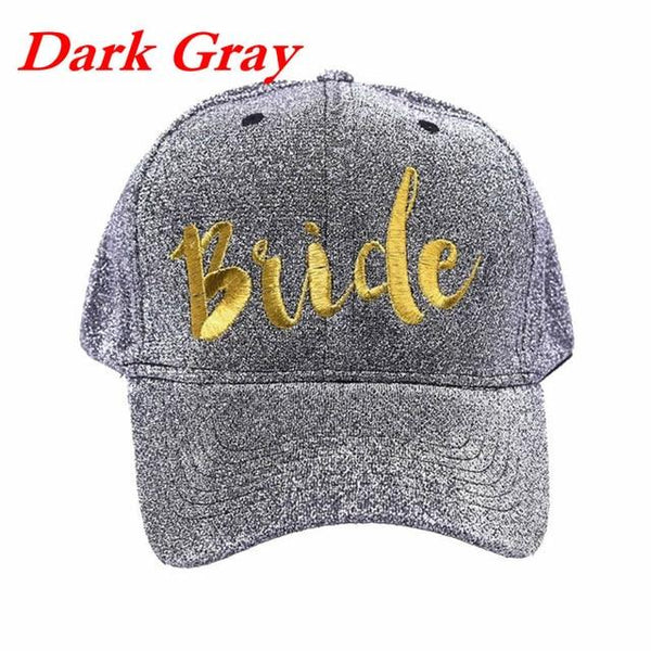 Adjustable Hip Hop Snapback Peak Hat Baseball Cap Women Summer Gold Letters Team Bride Embroidered Glitter Cloth