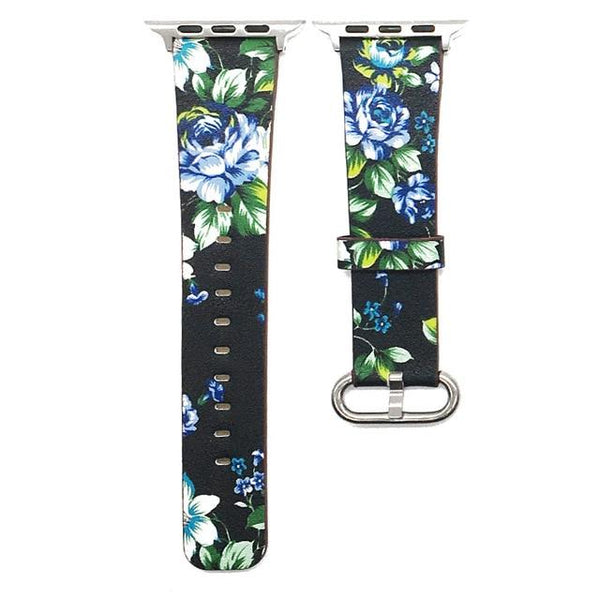 Black White Flower PU Leather Watch Band For Apple Watch series 1/2/3 42mm 38mm Bracelet strap for iwatch series 4 40mm 44mm