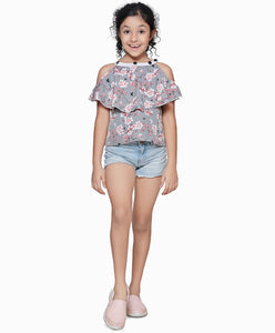 Polyester Grey Top for Girls in Half Sleeves & Round Neck