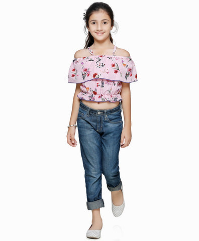 Cotton Blend Pink Top for Girls in Noodle Strap & Off Shoulder