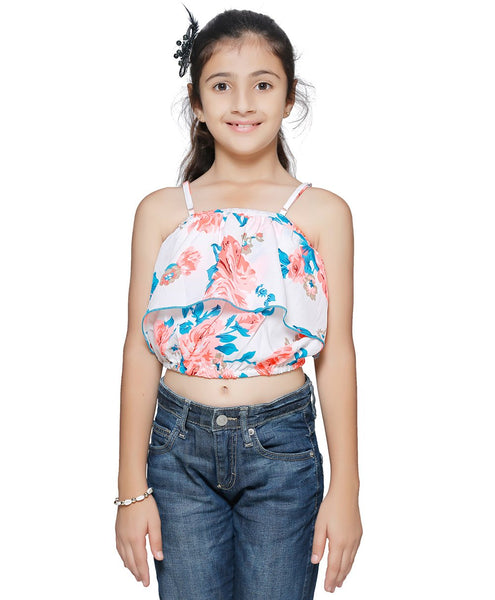 Polyester White Top for Girls in Noodle Strap & Off Shoulder