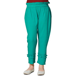 Light Green Casual Pant in Cotton Rayon Blend For Girls