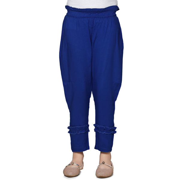Blue Casual Pant in Cotton Rayon Blend For Girls