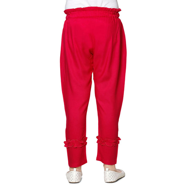Red Casual Pant in Cotton Rayon Blend For Girls