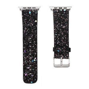 Christmas Shiny Glitter Power Leather Bling Luxury iWatch Band Wristwatch Bracelet Strap for Apple Watch Series 3/2/1 38mm 42mm