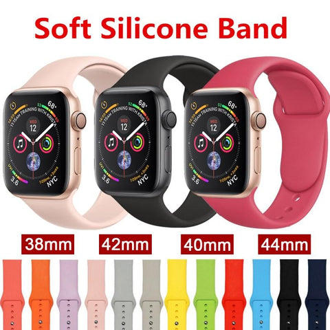 Colorful Sport Soft Silicone Band For Apple Watch Series 1 2 3 4 38mm 42mm Wrist Bracelet Strap For iWatch Replacement Bands
