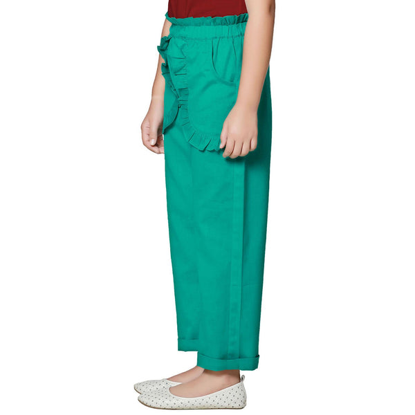 Cotton Blend Dark Green Palazzo in Casual Wear For Girls