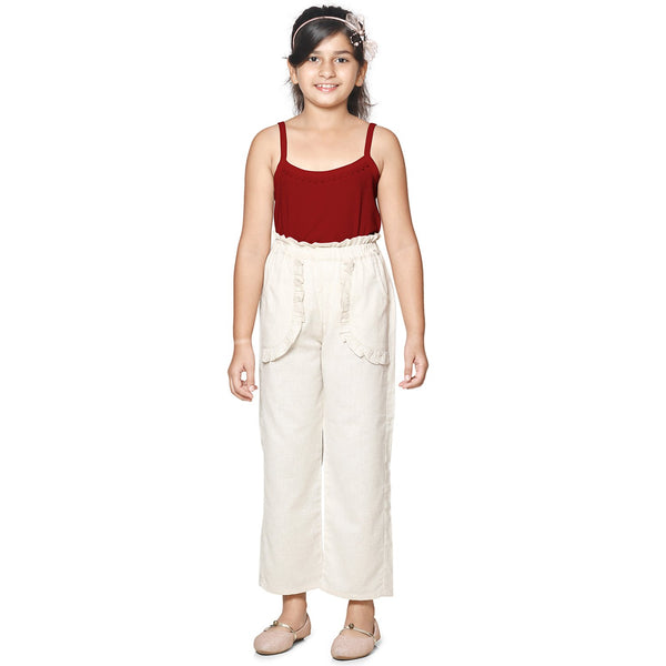 Cotton Blend Cream Color Palazzo in Casual Wear For Girls