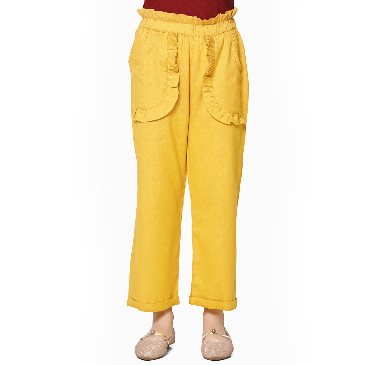 Cotton Blend Yellow Palazzo in Casual Wear For Girls