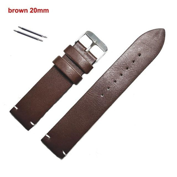 Watch Band Faux Leather Straps Watchbands 18mm 20mm 22mm Watch Accessories Men Brown Black Brown Yellow Belt Band Bracelet