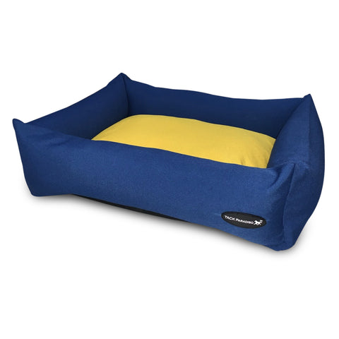 Premium Quality Super Soft Dog Bed Blue & Yellow
