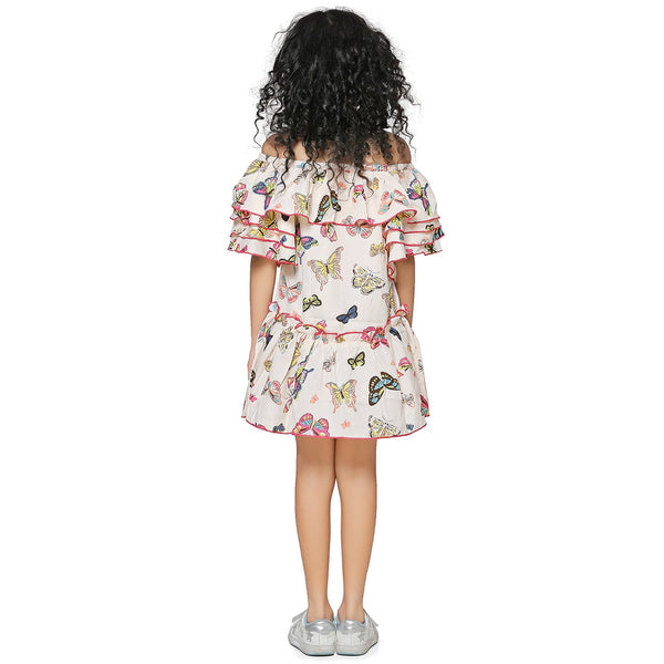 Casual Off White Animal Print A- Line Dress For Girls