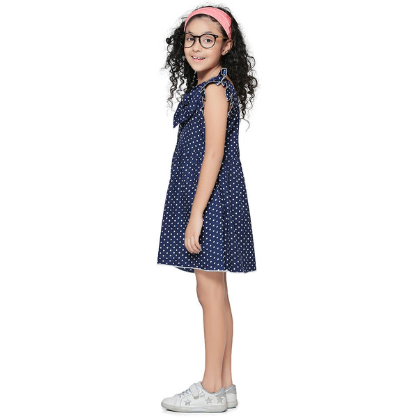 Casual Navy Blue Polka Print A- Line Dress For Girls