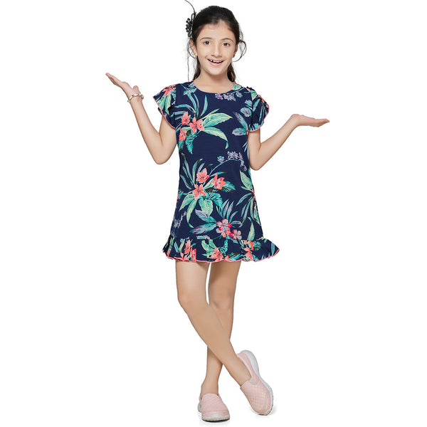Casual Navy Blue Printed A- Line Dress For Girls