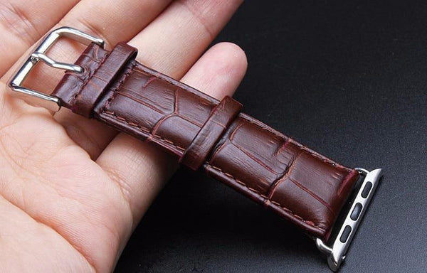 Genuine Leather Band Strap Stainless Steel Buckle Adapter Belt for Apple Watch 38mm 42mm 40mm 44mm series 4/3/2/1