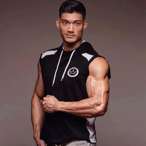 Men Spring summer Bodybuilding sleeveless Hoodie Gyms Fitness cotton Sweatshirt 2018 New male Casual slim Sportswear Hooded vest