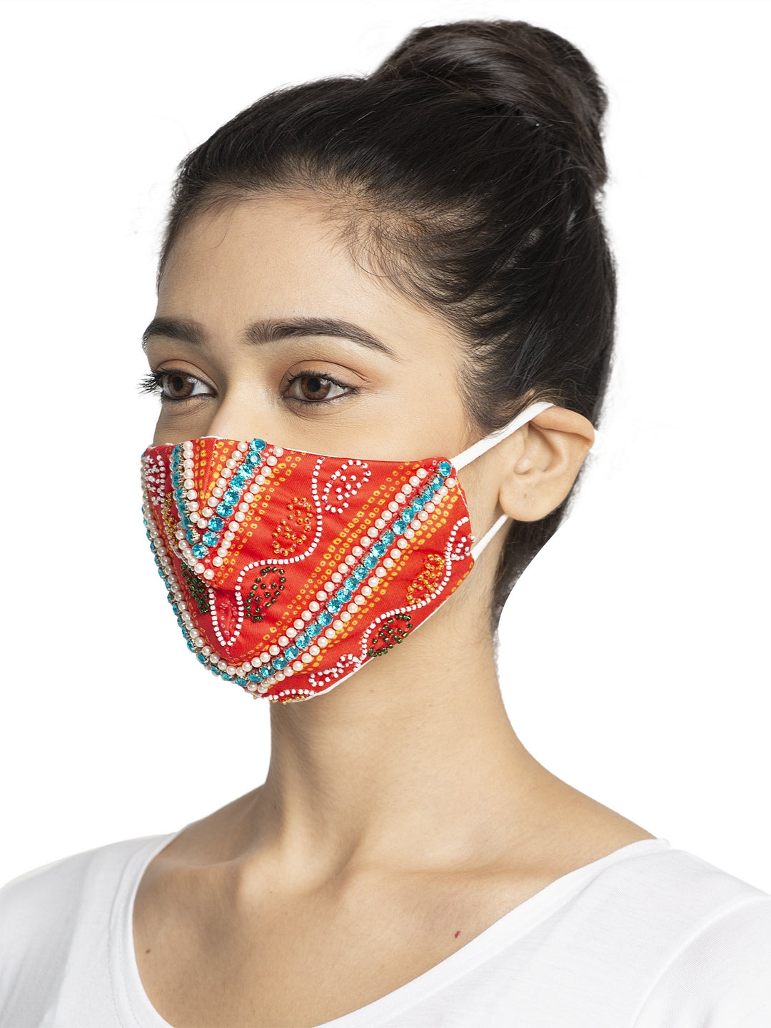 Women Red Embroidered Embellished Sparkling Glitter Sequin Women Fashion Reusable Face Mask