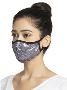Grey Embellished Sparkling Glitter Sequin Women Fashion Reusable Face Mask