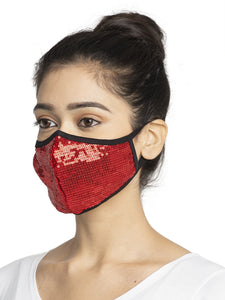 Red Embellished Sparkling Glitter Sequin Women Fashion Reusable Face Mask