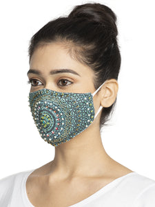 Women Turquoise Blue Embroidered Embellished Sparkling Glitter Sequin Women Fashion Reusable Face Mask