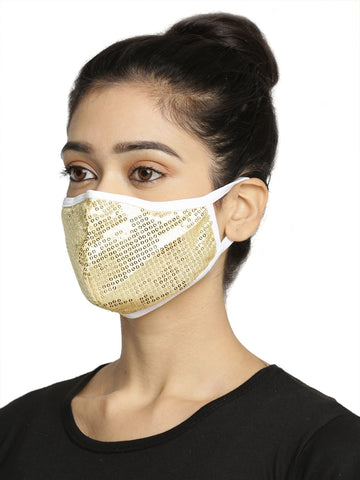 Beige Embellished Sparkling Glitter Sequin Women Fashion Reusable Face Mask