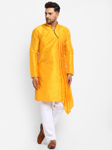 Yellow Solid Brocade Kurta With Aligarh Pajama For Men By Treemoda