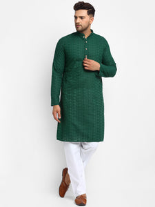 Embroidered Cotton Chikankari Green Kurta With Aligarh Pajama For Men By Treemoda