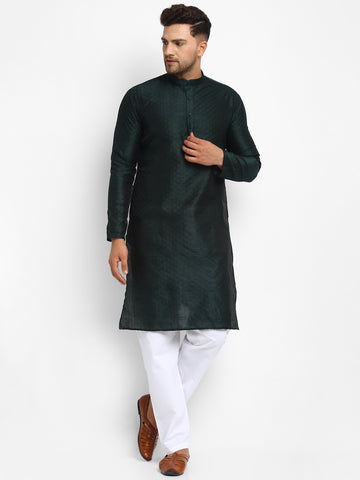 Embellished Brocade Bottle Green Kurta With Aligarh Pajama Set For Men By Treemoda