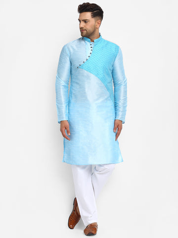 Embellished Brocade Sky Blue Kurta With Aligarh Pajama Set For Men By Treemoda