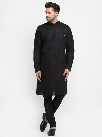 Embroidered Cotton Chikankari Black Kurta With Churidar Pajama For Men By Treemoda