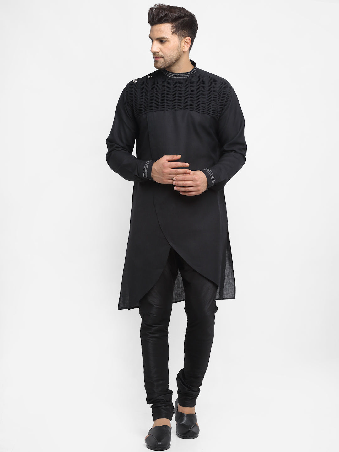 Men Black Solid Linen Kurta With Churidar Pajama For Men By Treemoda