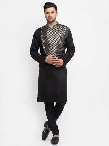 Ethinic Brocade Silk Black Kurta With Churidar Pajama For Men By Treemoda