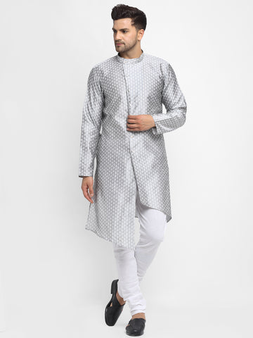 Embellished Brocade Grey Kurta With Churidar Pajama Set For Men By Treemoda