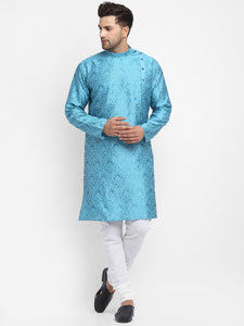 Embellished Brocade Turquiose Blue Kurta With Churidar Pajama Set For Men By Treemoda
