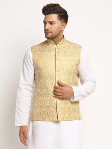 New Designer Men Light Golden Brocade Nehru Jacket With Golden Work By Treemoda