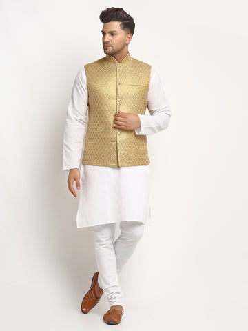 New Designer Men Dark Golden Brocade Nehru Jacket With Golden Work By Treemoda