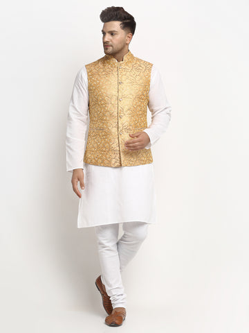 New Designer Men Rose Gold Brocade Nehru Jacket With Golden Work By Treemoda