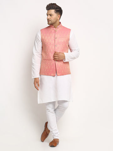 New Designer Men Pink Brocade Nehru Jacket With Golden Work By Treemoda