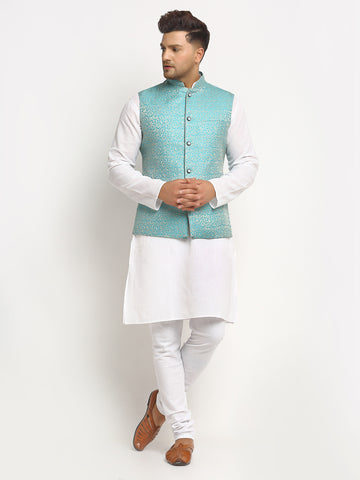 New Designer Men Turquoise Blue Brocade Nehru Jacket By Treemoda