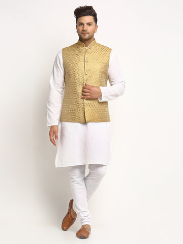 New Designer Men Golden Brocade Nehru Jacket With Golden Work By Treemoda