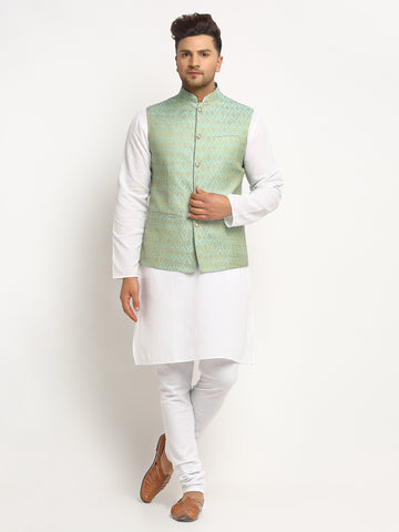 New Designer Men Turquoise Green Brocade Nehru Jacket With Golden Work By Treemoda