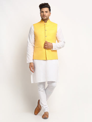 New Designer Men Yellow Brocade Nehru Jacket With Golden Work By Treemoda