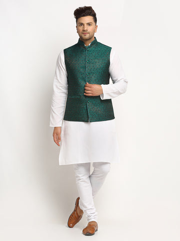 New Designer Men Bottle Green  Brocade Nehru Jacket With Golden Work By Treemoda
