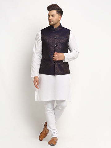 New Designer Men Navy Blue Brocade Nehru Jacket With Golden Work By Treemoda