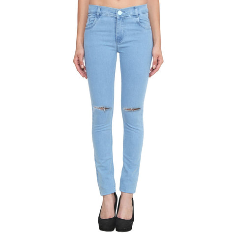 Women's Slim Fit Mid-Rise Clean Look Knee Slit Streachable Jeans