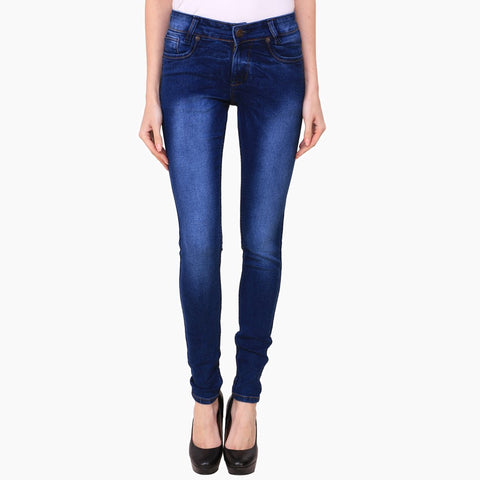 Women's Skinny Fit Mid-Rise Light Fade Clean Look Streachable Jeans