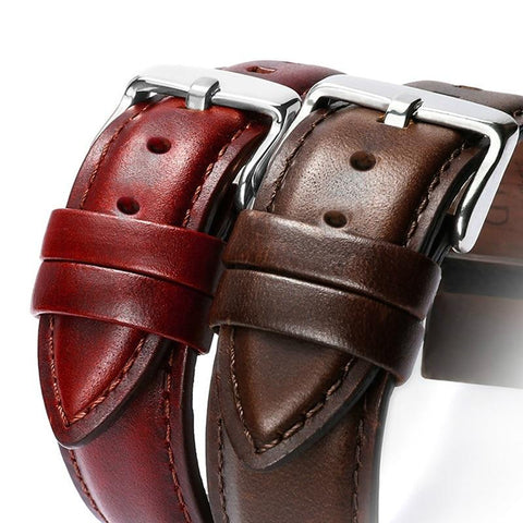 Leather Watchband Unisex Watch Band 22/20/18/16/14/12mm Wrist Watch Strap