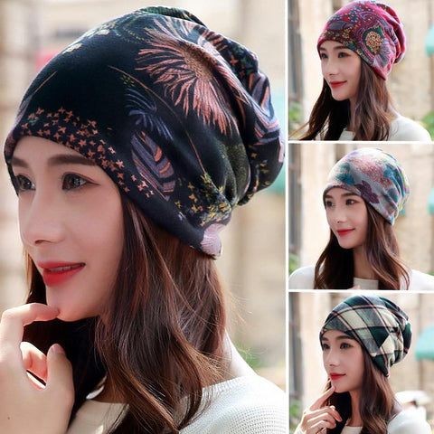 New Polyester Cotton Casual Floral Headscarf Fashion Female Spring Autumn Scarf Cap Hats